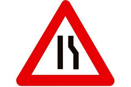 Verkeersbord  'Rijbaanversmalling naar links'