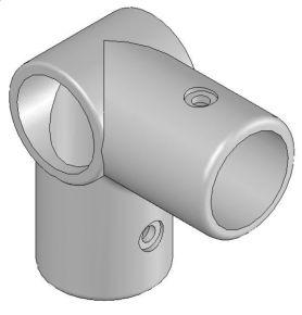 Aluminium buisverbinding 90° hoek open