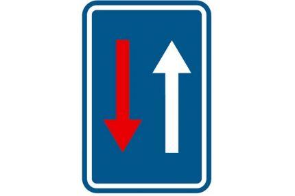 Verkeersbord 'Voorrang bij vernauwing'