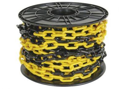 Kunststof Ketting 6mm, geel-zwart, prijs per cm