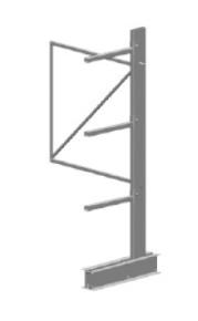 Draagarmstelling light enkelzijdig H.2000xL.1000xD.800 + 3 niv. - aanbouw
